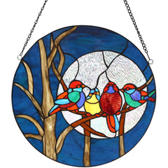 River of Goods 19424 | Birds in the Night Sky Round Stained Glass Hanging Window Panel | Image 1 - Main