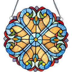 River of Goods 19513 | Halston Amber Decorative Round Stained Glass Hanging Window Panel | Image 1 - Main