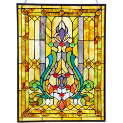 River of Goods 8225 | Fleur de Lis Amber/Yellow Stained Glass Hanging Window Panel | Image 1 - Main