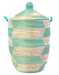 sen10o Aqua & White Chevron Medium Traditional Laundry Hamper Storage Basket | Senegal Fair Trade by Swahili Imports