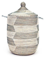 sen10u Silver & White Chevron Medium Traditional Hamper Storage Basket | Senegal Fair Trade by Swahili Imports