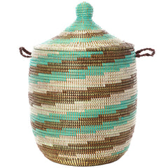 sen10w Sahel Sky Spiral Medium Traditional Laundry Hamper Storage Basket | Senegal Fair Trade by Swahili Imports