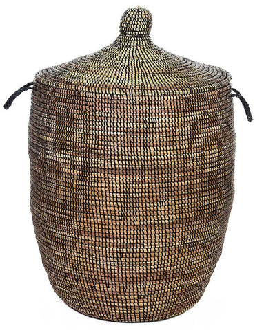 sen11g Black Large Traditional Laundry Hamper Storage Basket | Senegal Fair Trade by Swahili Imports