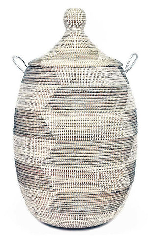 sen11u Silver & White Chevron Large Traditional Laundry Hamper Storage Basket | Senegal Fair Trade by Swahili Imports