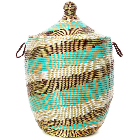 sen11w Sahel Sky Spiral Extra Large Traditional Laundry Hamper Storage Basket | Senegal Fair Trade by Swahili Imports