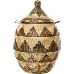sen11x Black & Cream Dune Extra Large Traditional Laundry Hamper Basket | Senegal Fair Trade by Swahili Imports