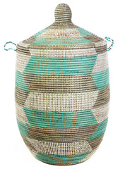 sen11y Aqua Silver & White Chevron Large Traditional Hamper Storage Basket | Senegal Fair Trade by Swahili Imports