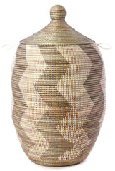 sen12l Silver & White Zig Zag Extra Large Traditional Laundry Hamper Basket | Senegal Fair Trade by Swahili Imports