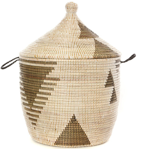 sen13a Black & White Tribal Design Traditional Laundry Hamper Storage Basket | Senegal Fair Trade by Swahili Imports