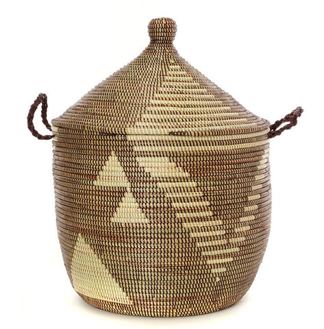 sen13d Brown & Cream Tribal Design Traditional Laundry Hamper Storage Basket | Senegal Fair Trade by Swahili Imports