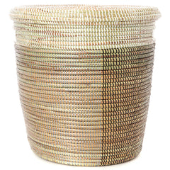 sen15a Black Silver & White Half & Half Medium Peace Corps Lidded Hamper Basket | Senegal Fair Trade by Swahili Imports