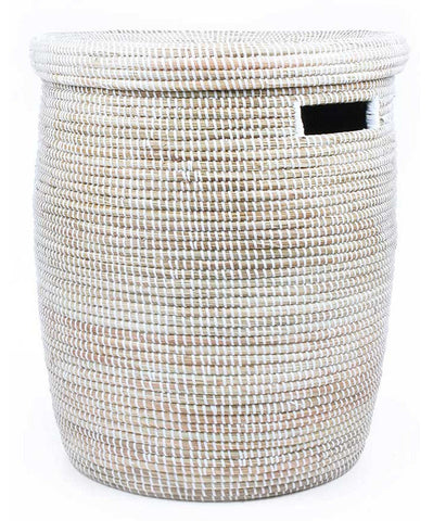 sen15b White Medium Peace Corps Lidded Hamper Basket | Senegal Fair Trade by Swahili Imports