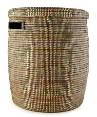 sen15g Black Medium Peace Corps Lidded Hamper Basket | Senegal Fair Trade by Swahili Imports