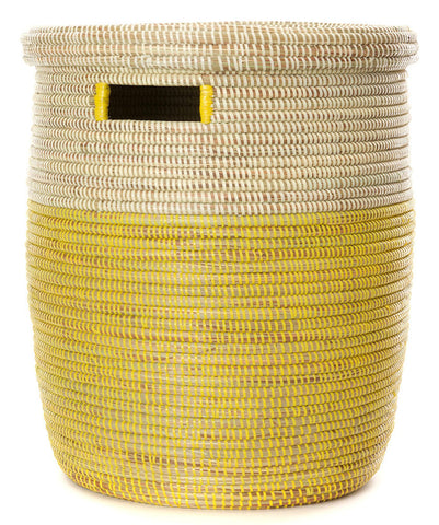 sen15i Lemon Dipped Two-Tone Medium Peace Corps Lidded Hamper Basket | Senegal Fair Trade by Swahili Imports