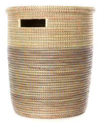 sen15j Sterling Dipped Two-Tone Medium Peace Corps Lidded Hamper Basket | Senegal Fair Trade by Swahili Imports
