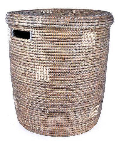 sen15l Silver with White Dots Medium Peace Corps Lidded Hamper Basket | Senegal Fair Trade by Swahili Imports