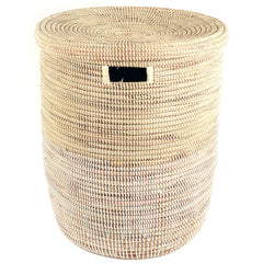 sen15n Vanilla Dipped Two-Tone Medium Peace Corps Lidded Hamper Basket | Senegal Fair Trade by Swahili Imports