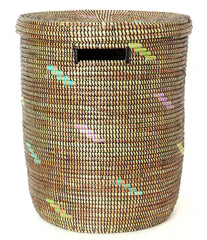 sen15r Black with Rainbow Confetti Medium Peace Corps Lidded Hamper Basket | Senegal Fair Trade by Swahili Imports