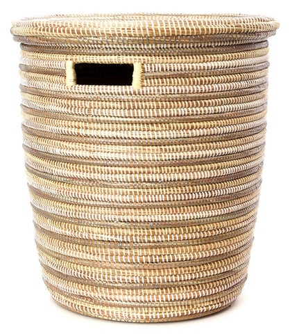 sen15t Silver Cream & White Stripe Medium Peace Corps Lidded Hamper Basket | Senegal Fair Trade by Swahili Imports