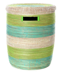 sen15z Aqua Green & White Stripe Medium Peace Corps Lidded Hamper Basket | Senegal Fair Trade by Swahili Imports