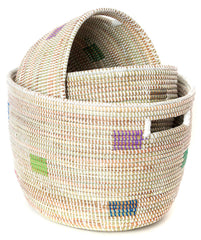 sen24q White with Rainbow Dots Set of 3 Open Nesting Knitting Sewing Baskets | Senegal Fair Trade by Swahili Imports