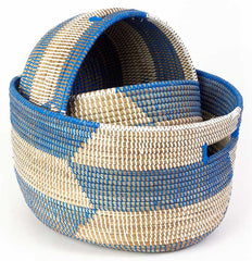 sen24t Blue & White Chevron Set of 3 Open Nesting Knitting Sewing Baskets | Senegal Fair Trade by Swahili Imports