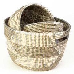sen24u Silver & White Chevron Set of 3 Open Nesting Knitting Sewing Baskets | Senegal Fair Trade by Swahili Imports