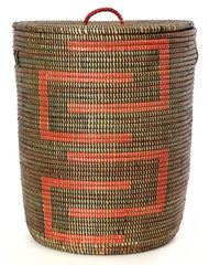 sen40a Black & Red Kumba Medium Sahara Woven Laundry Hamper Basket | Senegal Fair Trade by Swahili Imports