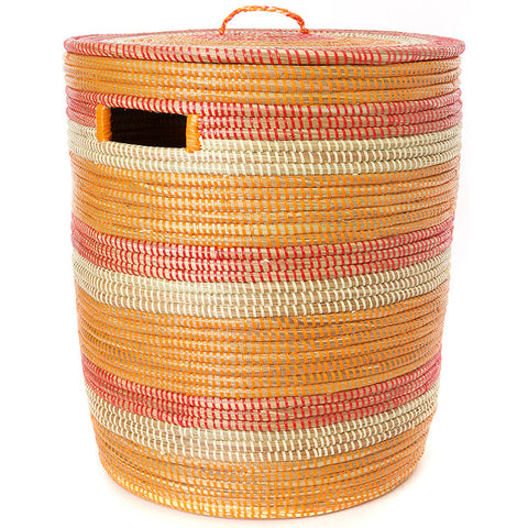 sen40f Orange Red & Cream Stripe Medium Sahara Woven Laundry Hamper Basket | Senegal Fair Trade by Swahili Imports