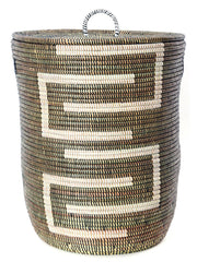 sen40g Black & White Kumba Medium Sahara Woven Laundry Hamper Basket | Senegal Fair Trade by Swahili Imports