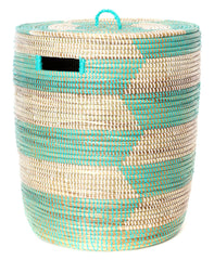 sen40o Aqua & White Chevron Medium Sahara Woven Laundry Hamper Basket | Senegal Fair Trade by Swahili Imports