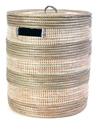 sen40p Silver & White Stripe Medium Sahara Woven Laundry Hamper Basket | Senegal Fair Trade by Swahili Imports