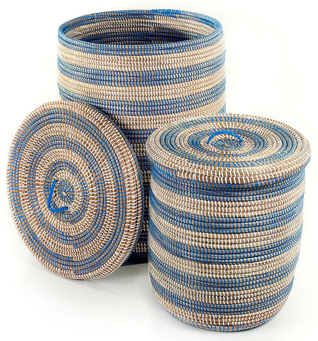 sen45d Blue & White Stripe Set of 2 Sand Dune Storage Baskets with Lids | Senegal Fair Trade by Swahili Imports