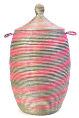 sen49t Pink & Silver Spiral Extra Large Traditional Laundry Hamper Basket | Senegal Fair Trade by Swahili Imports