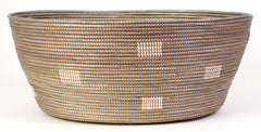 sen56h Silver with White Dots Large Open Storage Hand Woven Laundry Basket | Senegal Fair Trade by Swahili Imports