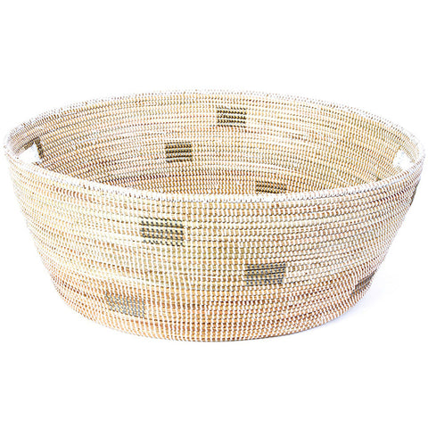 sen56i White with Silver Dots Large Open Storage Hand Woven Laundry Basket | Senegal Fair Trade by Swahili Imports