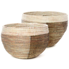 sen57a Black Silver & White Half & Half Set of 2 Open Nesting Deep Bowl Storage Baskets | Senegal Fair Trade by Swahili Imports