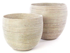 sen57c White Set of 2 Open Nesting Deep Bowl Storage Baskets | Senegal Fair Trade by Swahili Imports