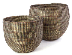 sen57g Black Set of 2 Open Nesting Deep Bowl Storage Baskets | Senegal Fair Trade by Swahili Imports