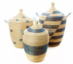 sen59a Blue & Cream Mixed Pattern Set of 3 Traditional Storage Baskets | Senegal Fair Trade by Swahili Imports