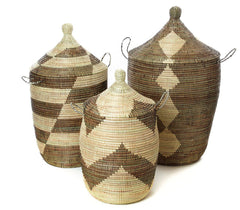 sen59b Black & Cream Mixed Pattern Set of 3 Traditional Storage Baskets | Senegal Fair Trade by Swahili Imports