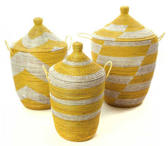 sen59d Yellow & White Mixed Pattern Set of 3 Traditional Storage Baskets | Senegal Fair Trade by Swahili Imports