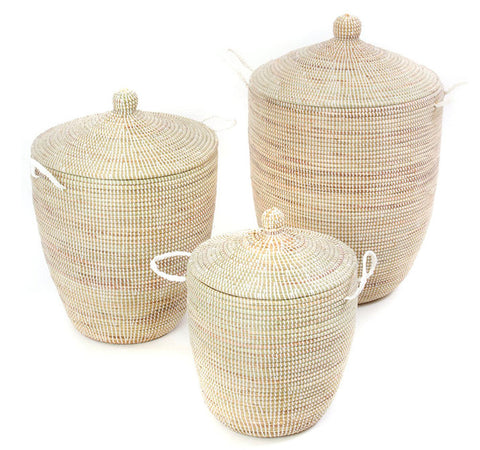 sen59e White Set of 3 Lidded Traditional Storage Baskets | Senegal Fair Trade by Swahili Imports