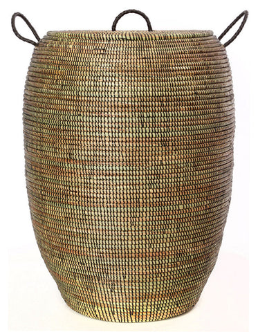 sen70g Black Large Bongo Laundry Hamper Storage Basket | Senegal Fair Trade by Swahili Imports
