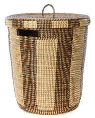 sen71g Black & White Medium Boulevard Lidded Hamper Basket | Senegal Fair Trade by Swahili Imports