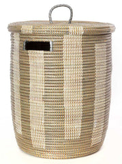 sen71p Silver & White Medium Boulevard Lidded Hamper Basket | Senegal Fair Trade by Swahili Imports