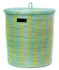 sen71z Aqua & Lime Medium Boulevard Lidded Hamper Basket | Senegal Fair Trade by Swahili Imports