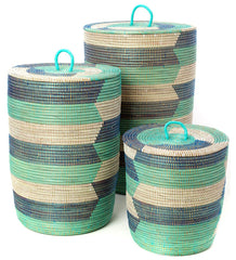 sen73o Blue Aqua White Chevron Set of 3 Sahara Storage Baskets | Senegal Fair Trade by Swahili Imports