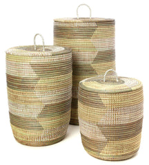 sen73q White Cream & Gray Chevron Set of 3 Sahara Storage Baskets | Senegal Fair Trade by Swahili Imports