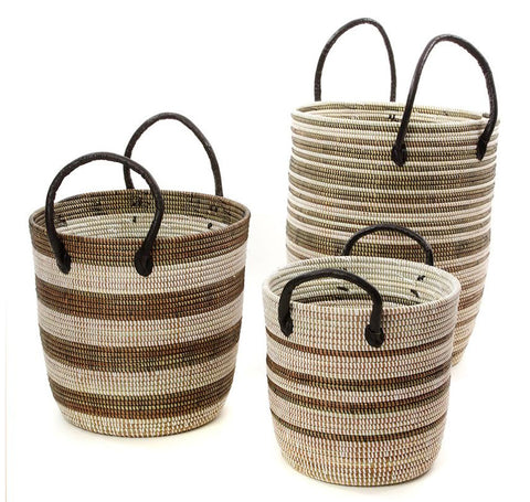 sen74c Black & White Mixed Pattern Set of 3 Nesting Storage Baskets | Senegal Fair Trade by Swahili Imports